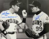 Charlie Sheen & Corbin Bernsen Signed Indians 'Major League' Pitchers Mound Confrontation B&W 16x20 Photo w/Dorn & Strike This Mother F**er Out
