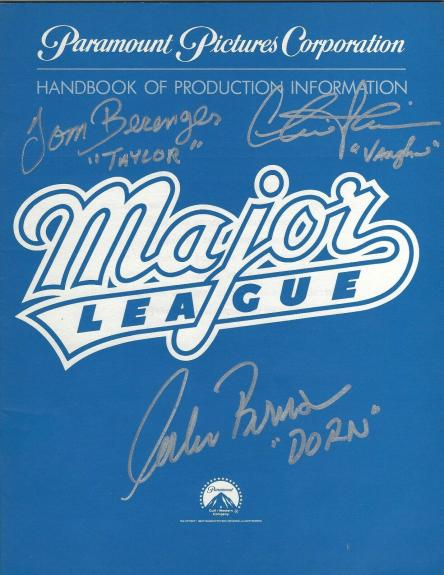 Charlie Sheen Corbin Bernsen Tom Berenger Signed Major League Info Book BAS COA