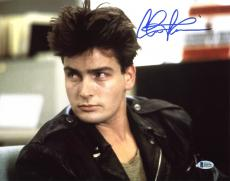 Charlie Sheen Ferris Bueller's Day Off Signed 11X14 Photo BAS Witnessed 7