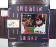 Charlie Sheen Major League Psa/dna Coa Signed Autograph Double Matted & Framed A