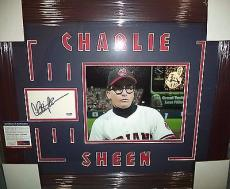 Charlie Sheen Major League Psa/dna Coa Signed Autograph Double Matted & Framed B