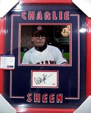 Charlie Sheen Major League Psa/dna Coa Signed Autograph Double Matted & Framed C