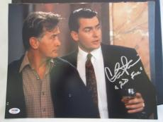 "CHARLIE SHEEN SIGNED AUTO 11x14 PHOTO  PSA/DNA ITP ""BUD FOX"" WALL STREET RARE Z"