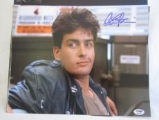 CHARLIE SHEEN SIGNED AUTO 11x14 PHOTO  PSA/DNA ITP FERRIS BUELLERS DAY OFF