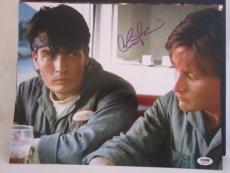 CHARLIE SHEEN SIGNED AUTO 11x14 PHOTO  PSA/DNA ITP MEN AT WORK
