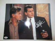 CHARLIE SHEEN SIGNED AUTO 11x14 PHOTO  PSA/DNA ITP WALLSTREET