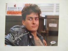 Charlie Sheen Signed Auto 8x10  Psa/dna Itp Ferris Buellers Day Off, Rare!!