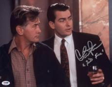 "Charlie Sheen Signed ""bud Fox"" 11x14 Photo Autographed Psa/dna Itp 4a11957"