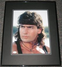 Charlie Sheen Signed Framed 11x14 Photo JSA Hot Shots