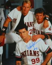 Charlie Sheen Signed Indians 'Major League' In Locker Room With Tom Berenger & Corbin Bernsen 16x20 Photo
