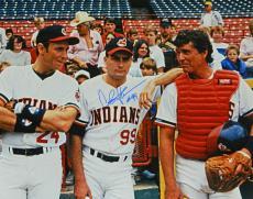 Charlie Sheen Signed Indians 'Major League' On Field With Tom Berenger & Corbin Bernsen 16x20 Photo