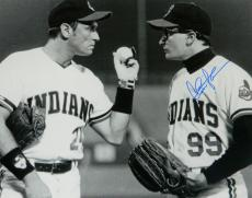 Charlie Sheen Signed Indians 'Major League' Pitchers Mound Confrontation With Dorn B&W 16x20 Photo