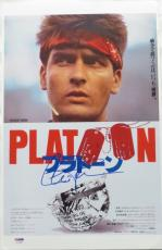 Charlie Sheen Signed Platoon Autographed Japanese Mini Poster PSA/DNA #AC78288