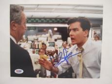 Charlie Sheen Signed Wall Streeet Auto 8x10  Psa/dna Itp 56