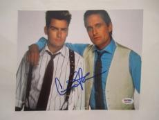 Charlie Sheen Signed Wall Street Auto 8x10  Psa/dna Itp 69