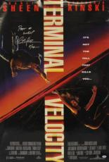 Charlie Sheen Terminal Velocity Signed 27x40 One Sheet Poster Psa/dna #v68317