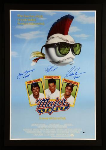 "Charlie Sheen, Tom Berenger, And Corbin Bernsen Framed Autographed 30"" x 40"" Major League Movie Poster With Character Inscriptions- Beckett LOA"