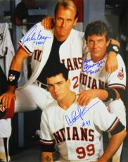 Charlie Sheen, Tom Berenger & Corbin Bernsen Cast Signed Indians 'Major League' Locker Room Pose 16x20 Photo w/Dorn & Taylor