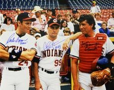 Charlie Sheen, Tom Berenger & Corbin Bernsen Cast Signed Indians 'Major League' On Field 16x20 Photo w/Dorn & Taylor