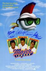 Charlie Sheen, Tom Berenger & Corbin Bernsen Cast Signed Major League 11x17 Movie Poster w/Vaughn, Taylor & Dorn