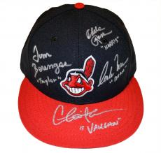 Charlie Sheen, Tom Berenger, Corbin Bernsen & Chelcie Ross Autographed Cleveland Indians MLB Fitted Baseball Hat