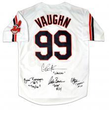 """Charlie Sheen, Tom Berenger, Corbin Bernsen & Chelcie Ross Autographed Cleveland Indians """"Vaughn"""" Baseball Jersey"""