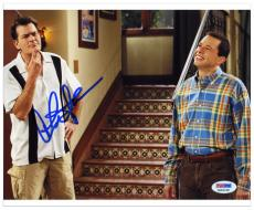 "Charlie Sheen Autographed 8"" x 10"" with Brother Photograph"