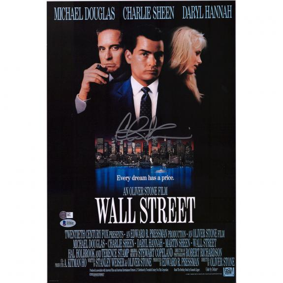 """Charlie Sheen Wall Street Autographed 11"""" x 14"""" Movie Poster - BAS"""