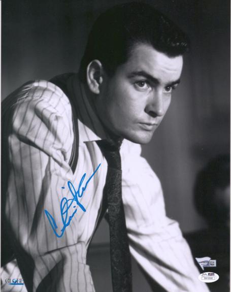 """Charlie Sheen Wall Street Autographed 11"""" x 14"""" Photograph - JSA"""