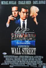 Charlie Sheen Wall Street Signed 12x18 Photo BAS Witnessed 11