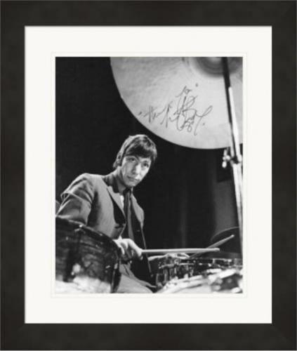 Charlie Watts autographed 8x10 photo (Rolling Stones Drummer) #2 Matted & Framed