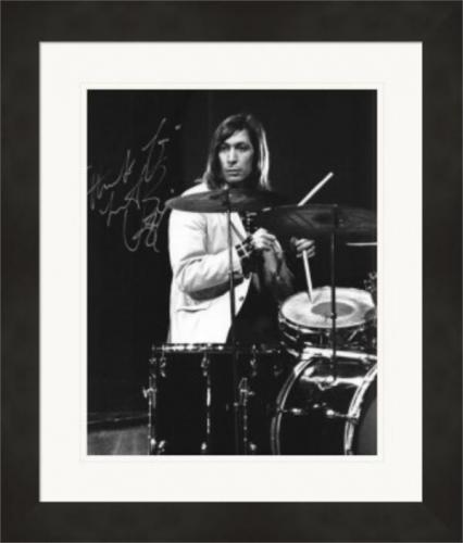 Charlie Watts autographed 8x10 photo (Rolling Stones Drummer) #4 Matted & Framed