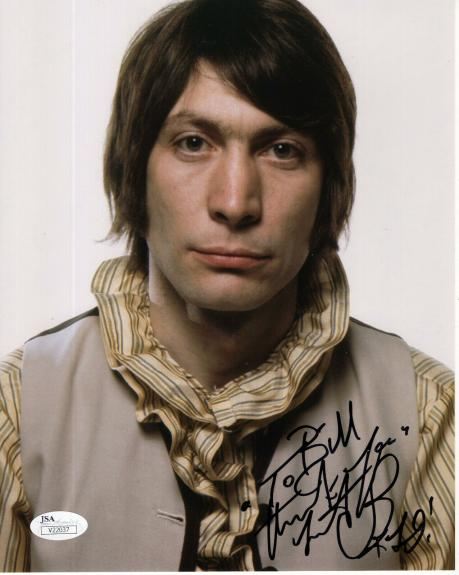 CHARLIE WATTS HAND SIGNED 8x10 COLOR PHOTO     BEST POSE EVER     TO BILL    JSA