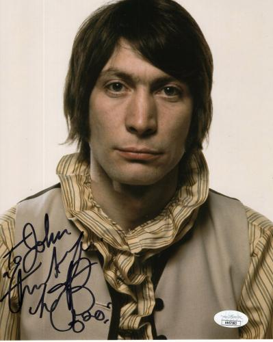 CHARLIE WATTS HAND SIGNED 8x10 COLOR PHOTO     BEST POSE EVER     TO JOHN    JSA