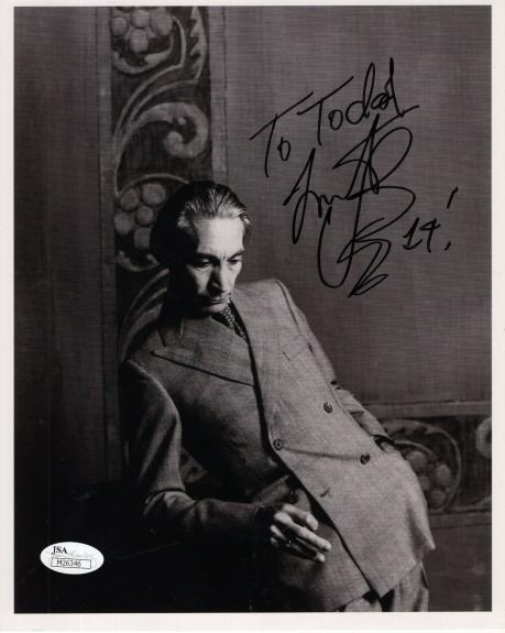 CHARLIE WATTS HAND SIGNED 8x10 PHOTO    DRUMMER ROLLING STONES     TO TODD   JSA