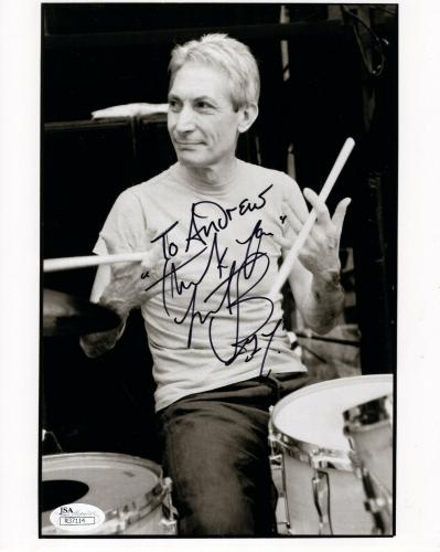 CHARLIE WATTS HAND SIGNED 8x10 PHOTO     ROLLING STONES DRUMMER  TO ANDREW  JSA