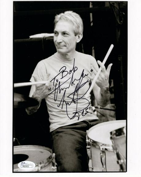 CHARLIE WATTS HAND SIGNED 8x10 PHOTO     ROLLING STONES DRUMMER    TO BOB    JSA