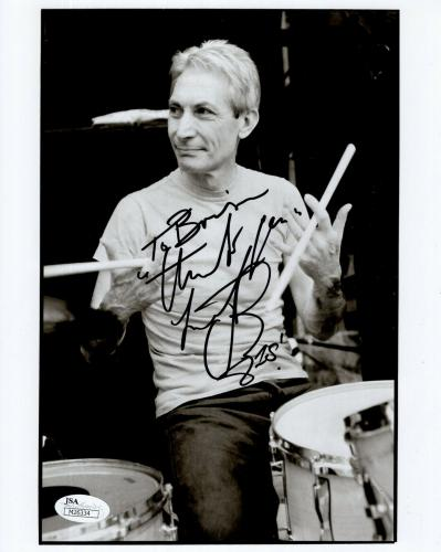 CHARLIE WATTS HAND SIGNED 8x10 PHOTO    ROLLING STONES DRUMMER   TO BRIAN   JSA