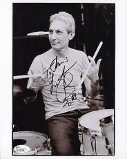 CHARLIE WATTS HAND SIGNED 8x10 PHOTO    ROLLING STONES DRUMMER   TO CHRIS    JSA
