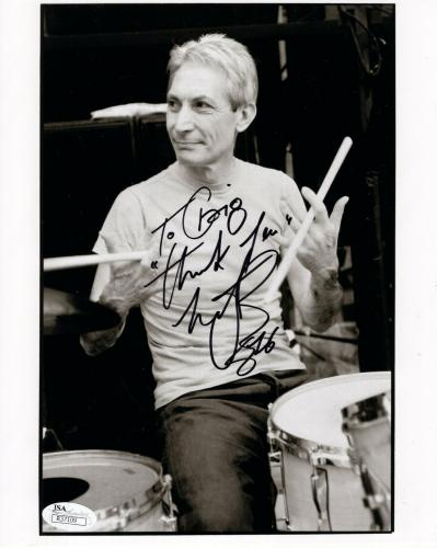 CHARLIE WATTS HAND SIGNED 8x10 PHOTO     ROLLING STONES DRUMMER   TO CRAIG   JSA
