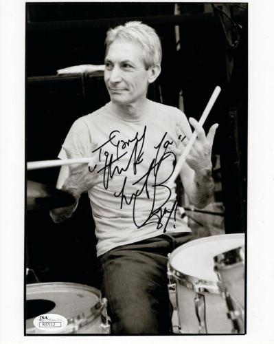 CHARLIE WATTS HAND SIGNED 8x10 PHOTO     ROLLING STONES DRUMMER    TO GARY   JSA