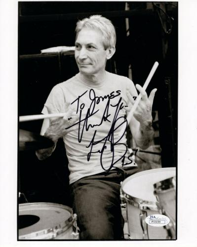 CHARLIE WATTS HAND SIGNED 8x10 PHOTO     ROLLING STONES DRUMMER   TO JAMES   JSA