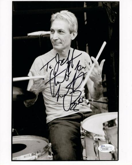 CHARLIE WATTS HAND SIGNED 8x10 PHOTO     ROLLING STONES DRUMMER    TO JEFF   JSA