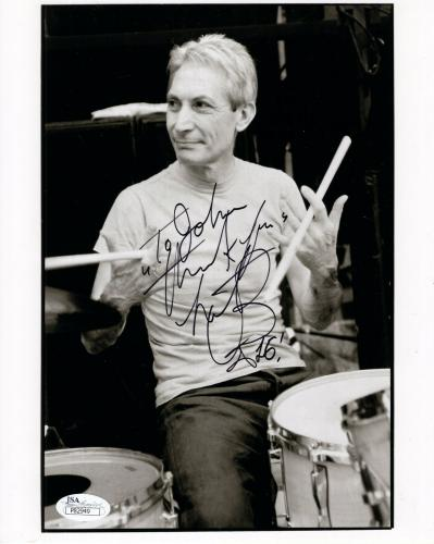 CHARLIE WATTS HAND SIGNED 8x10 PHOTO     ROLLING STONES DRUMMER   TO JOHN    JSA