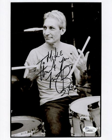 CHARLIE WATTS HAND SIGNED 8x10 PHOTO    ROLLING STONES DRUMMER    TO MIKE    JSA