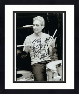 CHARLIE WATTS HAND SIGNED 8x10 PHOTO     ROLLING STONES DRUMMER    TO PETE   JSA