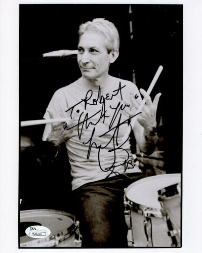 CHARLIE WATTS HAND SIGNED 8x10 PHOTO    ROLLING STONES DRUMMER   TO ROBERT   JSA