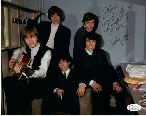 CHARLIE WATTS HAND SIGNED 8x10 PHOTO     STONES GROUP PHOTO     TO BRIAN     JSA