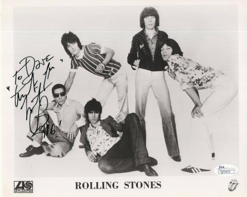 CHARLIE WATTS HAND SIGNED 8x10 PHOTO     STONES GROUP PHOTO     TO DAVE     JSA