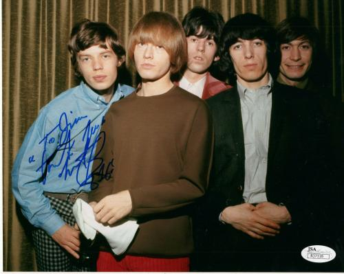 CHARLIE WATTS HAND SIGNED 8x10 PHOTO     STONES GROUP PHOTO       TO JIM     JSA
